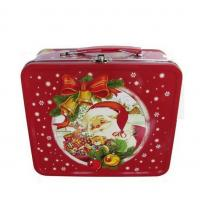 Wholesale LOGO Printing Rectangle Metal Tin Lunch Box With Christmas Artwork from china suppliers