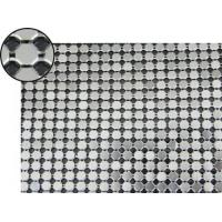 A piece of metallic fabric cloth with 6mm flat octagon shape and bright silver color.