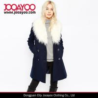 Wholesale 2016 Faux Fur Collar Double Breasted Overcoat Women Winter Pea Coat with Faux Fur Trim from china suppliers