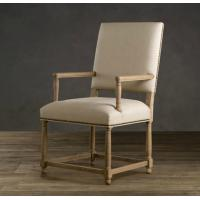 Wholesale American Style Empire Parsons Upholstered Linen Fabric Dining Chair with brass nailheads from china suppliers