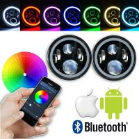 Wholesale 7 Inch Round RGB LED Headlights Bluetooth Phone APP Control High Low Beam from china suppliers