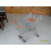 Wholesale Asian Type 100L Wire Shopping Trolley / Grocery Shopping Cart With Orange Beby Seat from china suppliers