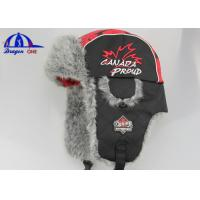 Wholesale 100% Polyester / Fake Fur Winter Cap and Hat With Flat Embroidery And Plastic Buckle On Earflag from china suppliers