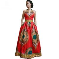 Wholesale African Style Dresses Women Dashiki Wax Batik Printing Sleeveless Sexy V Neck from china suppliers
