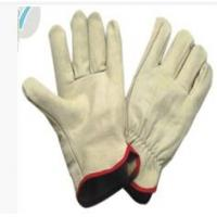 Wholesale XXL Light Yellow Cow Split Leather Gloves With Wing Thumb For Refuse Collection from china suppliers