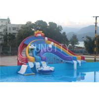 Wholesale 0.55mm PVC Tarpaulin Four Lane Inflatable Rainbow Water Slide For Water Park Games from china suppliers
