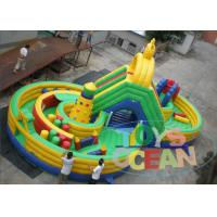 Wholesale Green Yellow Inflatable Maze Outdoor Bouncy Castle Playground Fireproof 16 * 8m from china suppliers