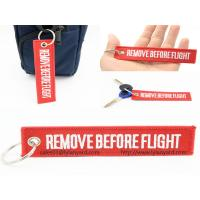 Wholesale Custom Embroidery Logo Remove Before Flight Keychain, Woven Logo Keychain, Red Remove Before Flight Keychain with Ring from china suppliers