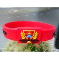Wholesale Red / Black Printed Embossed Silicone Bracelet, Hologram Energy Armor Bracelets from china suppliers