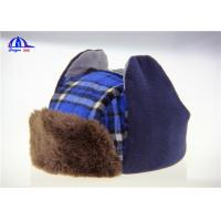 Wholesale Checked Cotton / Fake Fur Baseball Warm Winter Caps With Earflag Blue and Brown from china suppliers