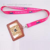 Quality Sub printing neck lanyard with leather id badge, 2 sides sub print flat lanyards, for sale