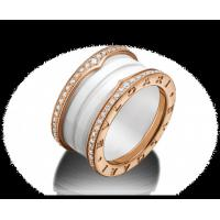 Quality Bvlgari B.zero1 4-band ring in 18 kt pink gold and white ceramic with pavé diamonds along the edges for sale
