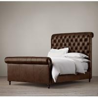 Wholesale French Vintage Chesterfield Upholstered King Leather Bed for Bedroom Furniture from china suppliers