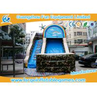 Wholesale inflatable bouncer ,PVC Tarpaulin Camo Slide / Commercial Inflatable Dry Slide With Logo Printing from china suppliers