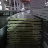 Buy cheap 840-25-426mm iron grey steel sheet up and silver paper down glass wool sandwich panel from wholesalers