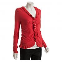Wholesale Red Ruched Ruffle V Neck Womens Knitted Sweaters For Girls , Young Ladies from china suppliers