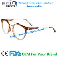 Quality 2014 Big Size Lens Half Acetate Frame Metal Round Glasses Frame for sale