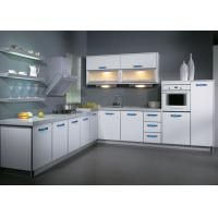 Wholesale L Shaped Aluminium Frame UV Kitchen Cabinet , White Melamine Kitchen Cupboards from china suppliers