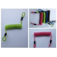 Wholesale Green / Red / Black PU Coated Coil Spring Lanyard Loops Both Sides from china suppliers