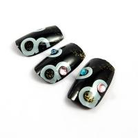 Buy cheap Japanese Black Nail Art Fake Nails natural looking , Full Cover Type from wholesalers