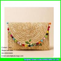 Wholesale LUDA rainbow straw handbag fashion wheat straw clutch bag from china suppliers