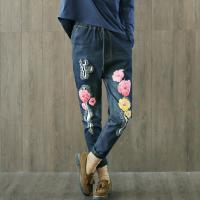 Wholesale Regular Rise Dark Denim Jeans For Short Curvy Women With Embroidered Flowers from china suppliers