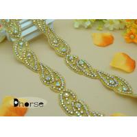Buy cheap Custom Gold Base AB stone Rhinestone Applique Trim For Dresses from wholesalers