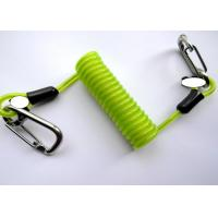 Quality Green Transparent Retractable Safety Lanyard Spring Spiral Coil Cable With Safety Hooks for sale