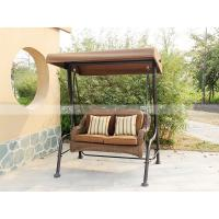 BM3001-1 PE rattan two-seaters swing with canopy outdoor furniture rattan bed
