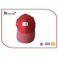 Wholesale 57cm Size Red cotton 6 panel Baseball Caps Hats with woven label for adults from china suppliers