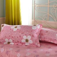 Quality Pink and Flower Design Cotton  2 Pillow Shams 1 Flat Sheet 1 Duvet Cover Bedding Sets for sale