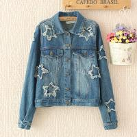 Wholesale Printed Star Womens Denim Cardigan Jackets Single Breasted Short Outwear from china suppliers