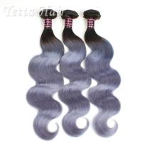 Wholesale Two Tone Unprocessed Brazilian Virgin Remy Hair , Grey Curly Human Hair Extensions from china suppliers