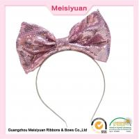 Wholesale Large Sequin hair Bows Flower Girl Headband For Party 20cm charming design from china suppliers