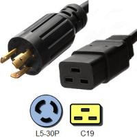 Wholesale Black 3 Conductor IEC C19 Power Cord NEMA L5 - 30P Locking Plug from china suppliers