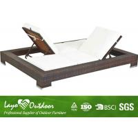 Wholesale Modern Design Rattan Garden Sun Loungers , Water Proof Double Outdoor Chaise Lounge from china suppliers