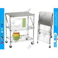 Wholesale Customized Foldable Chrome Wire Shelves Dining Car with 3 Tiers from china suppliers