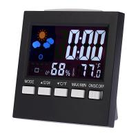 Wholesale Digital Thermometer Hygrometer Temperature An Humidity Clock Colorful LCD Alarm Snooze Function Calendar Weather Station from china suppliers