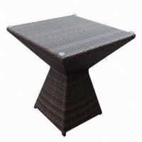 Quality Outdoor Furniture/Cool Rattan Table with 5mm Tempered Glass, Sized 800 x 800 x 740mm for sale