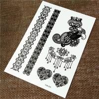 Wholesale Removable Temporary Henna Hand Tattoos Stickers Black Color Lace Skin Safe from china suppliers