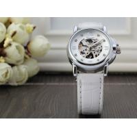 Quality White Winner Fashion Ladies Automatic Watch Skeleton , Three Hands Gift Watch for sale