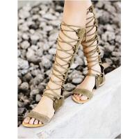 Wholesale Latest Brand Designer Bandage Lace Knee High Hollow Out Flat Gladiators Boots For Women Summer Shoes from china suppliers