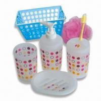 Quality Bath Set, Includes Sanitary Bin, Brush Holder, Soap Box, Sponge and Soap Dispenser for sale