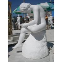 Quality art sculptures with nature white marble, polished for sale