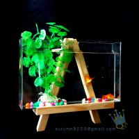 Wholesale Fake glass acrylic custom fish aquarium with wood base from china suppliers