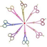 "Wholesale 7 "" Rubber handle 2cr13 Gold plated blade Titanium coated Hair Salon Scissor from china suppliers"