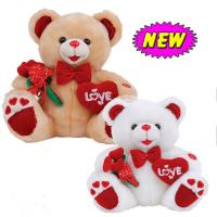 Wholesale 12inch Valentines Day Teddy Bear With Flower And Heart Stuffed Push Toys For Celebration from china suppliers