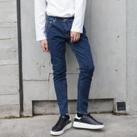 Wholesale Blue Fashion Drop Crotch Mens Tapered Jeans Anti - Pilling Damaged Wash from china suppliers