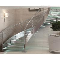 Quality indoor curved glass stairs / stainless steel round stairs railing / glass curved stairs for sale