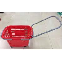 Wholesale Extensible Draw Bar Shopping Basket With Wheels And Handle , Grocery Basket On Wheels from china suppliers